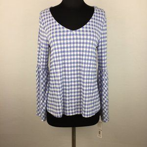 Massini S Gingham Top Long Bell Sleeves NWD